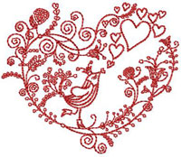 Free Valentine's Bird Embroidery Design