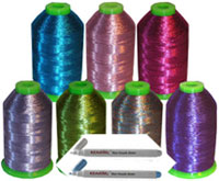 Metallic machine embroidery thread - 7 colors kit - ThreaDelight brand