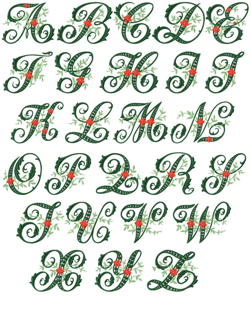 Abc designs wildwood ivy font machine embroidery designs 5 for Embroidered alphabet letters