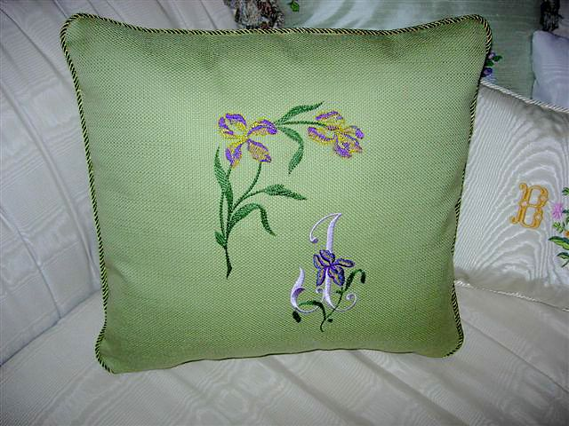 Abc embroidery projects pillow with iris corner initial