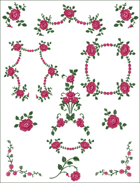 Roses Cadence machine embroidery designs set